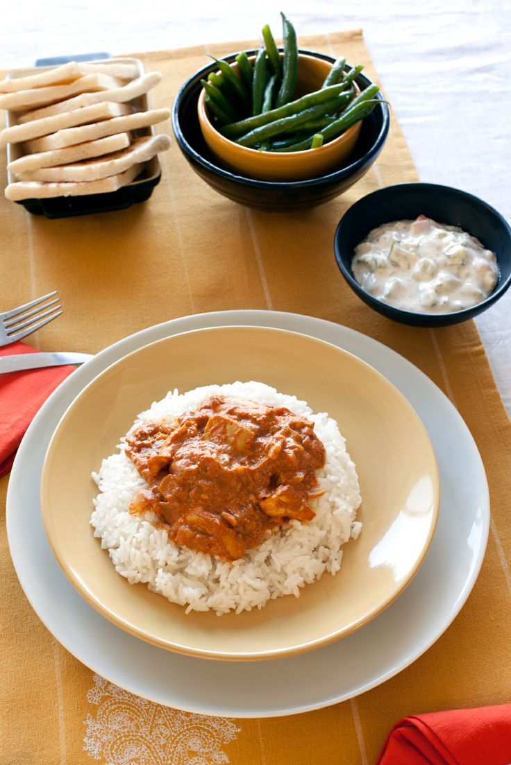 Butter Chicken: Chicken simmered in a creamy, fragrant curry sauce. A traditional Indian favourite made easily in 30 minutes.