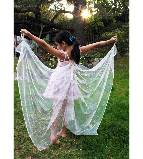 Kids Dress Up Wings, Butterfly Wings, Angel Wings, Fairy Wings, Costume Wings - Iridescent White - Sizes M L XL