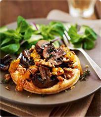 Mushroom and walnut tarts