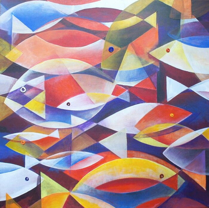 60x60 acrilic on canvas Fish ( 2014 ) www.lora-nikolova.com