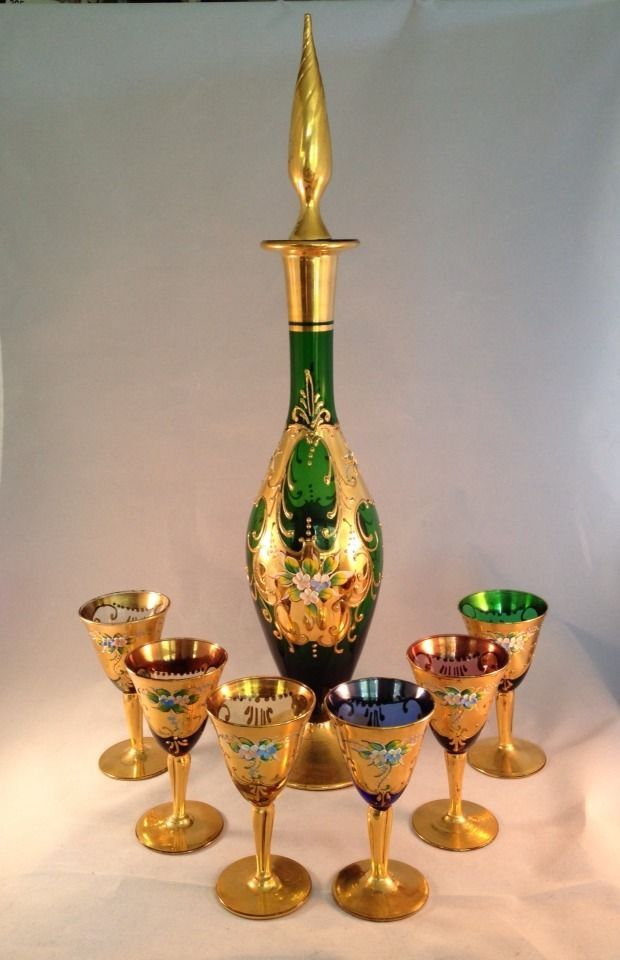 Mid-Century Elegance!  Murano Venetian Art Glass Decanter Set & 6 Glasses Wine Cordials Vintage
