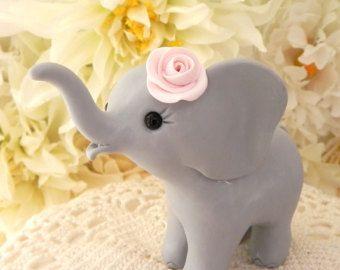 Olifant Baby douche taart Topper olifant grijs en roze | Etsy