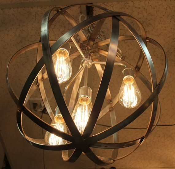 Industrial Sphere Orb Chandelier  Stainless Steel Metal strap Globe Hanging Light with 4 Thomas Edison 60w Bulbs  Wine Barrel Orb Chandelier on Etsy, $325.00