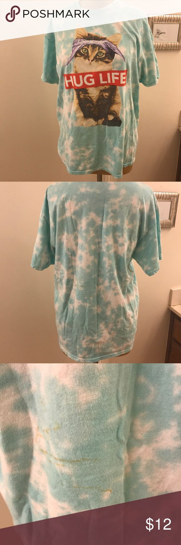 "HUG LIFE cat rapper tie dye t shirt. Tupac! Thug life hug life!  Excellent used condition   29"" Long  21"" armpit to armpit  Hippie tie dye look. Kitty cat Lady! dom Tops Tees - Short Sleeve"