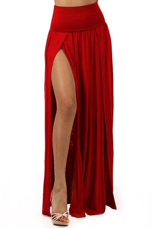 Yff Red High Slit Maxi Skirt 3x Plus Size 70 00 Dawn
