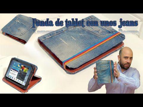 Funda para tablet utilizando unos jeans. DIY manualidades reciclando cartón y unos vaqueros - YouTube