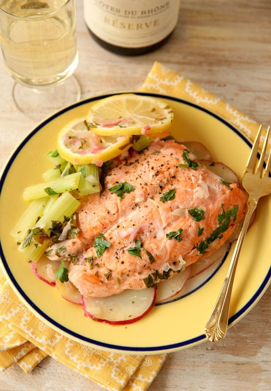 """This healthy salmon dinner can be made in under 5 minutes...in the microwave! It's an easy and elegant dish made """"en papillote"""" or in a parchment bag."""