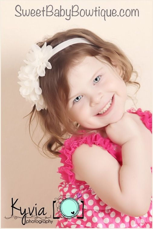 The Sophia Flower Ivory Elastic Headband