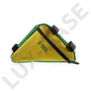 B-SOUL trekantet cykeltaske til overrøret - Gul / Grøn
