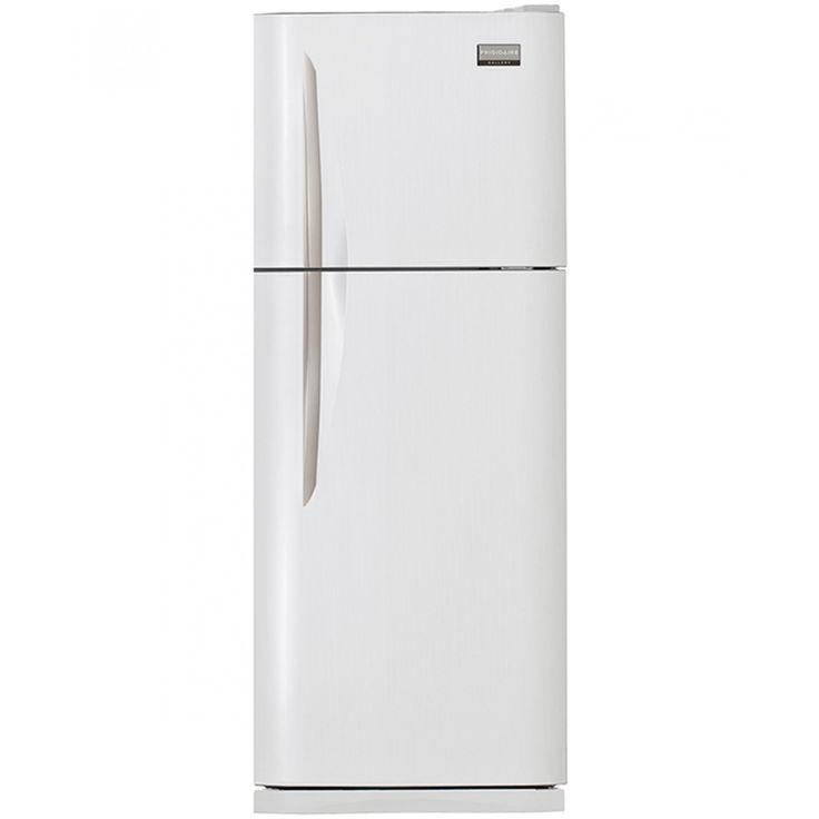 Refrigerador Frigidaire Top Mount en color blanco con 9 p3 manija de aluminiolibre de escarcha luz interior y despachador de hielo. Dos puertas con servidor de hielo Ice Twister con cajón para frutas y verduras cajón para carnes 4 anaqueles en la p