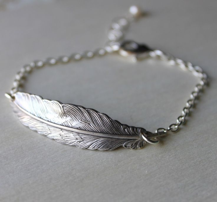 Feather Bracelet. Silver- Multiples discount available for weddings.. $22.00, via Etsy.