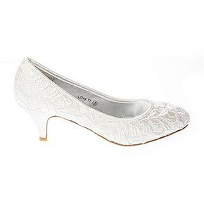 Ivory Low Heel Lace Court Shoe - BHS