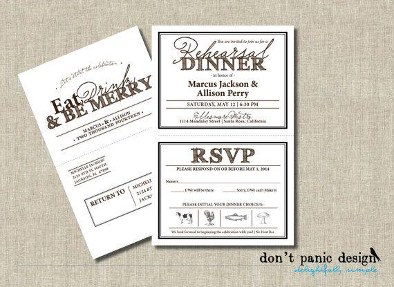 printable rehearsal dinner invitation with tear off rsvp