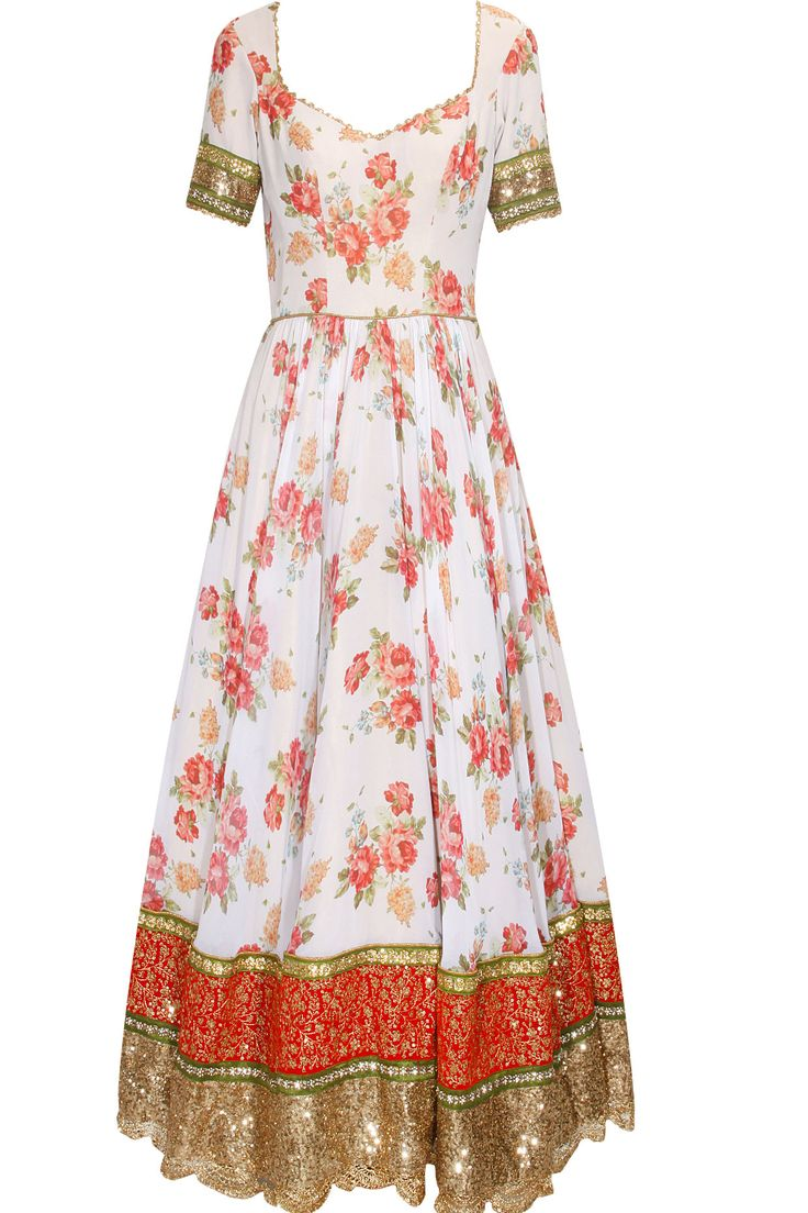 White and tomato red floral print and sequins embroidered anarkali suit available only at Pernia's Pop Up Shop.