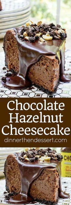 Rich Chocolate Hazelnut Cheesecake made with Chocmeister Milk Chocolatey Hazelnut Spread, a chocolate cookie crust and a thick, glossy chocolate ganache.