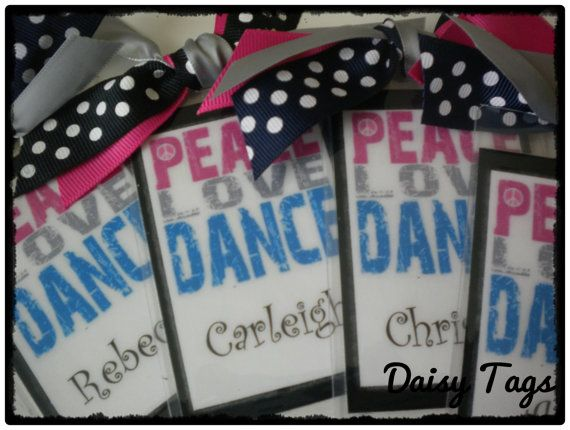 Peace, Love & Dance Bag Tag Cusomized for you or cheer, dance team. $8.00, via Etsy.
