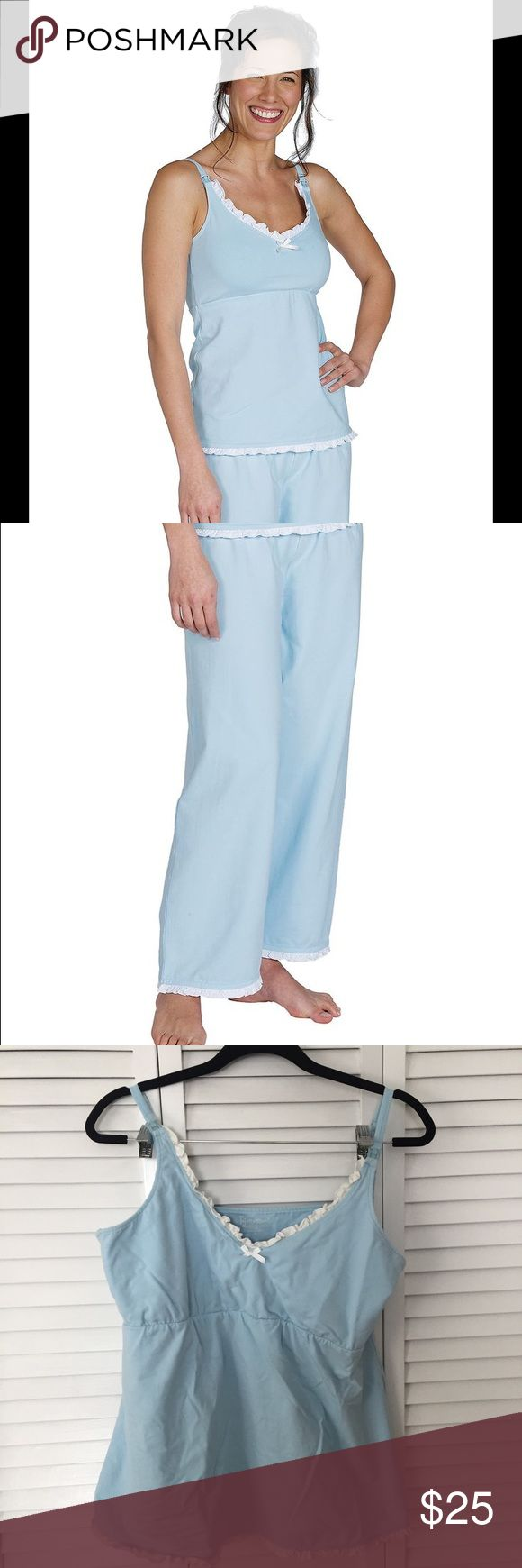 Pajamagram Nursing Pajamas Set Soft cotton nursing PJs! Worn once and never worn again. Beautiful baby blue tank and pants set. pajamagram Intimates & Sleepwear Pajamas
