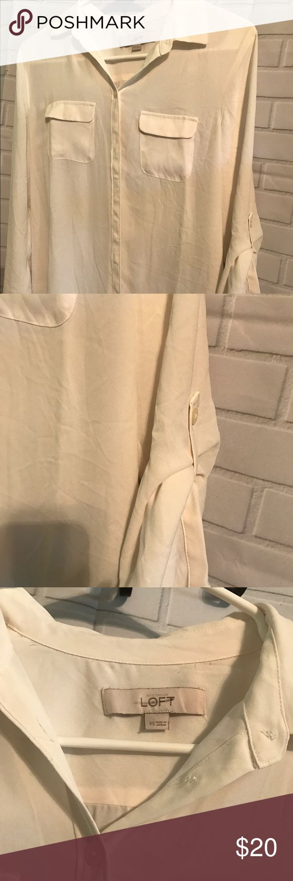 Anne Taylor Loft Cream button up sleeve blouse Nice Cream blouse worn one time, u can button up sleeve to wear long or 3/4 length, smoke free home anne taylor loft Tops Blouses