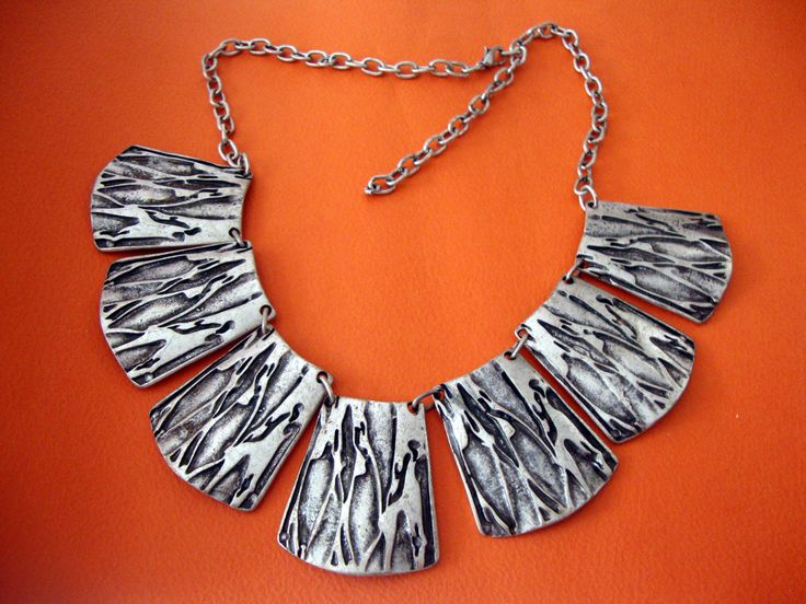 Modern Crushed Tree Trunk Oxidized Custom Jewelry Pewter Necklace Adjustable Length  40 -50 cm by SilveradoJewellery on Etsy