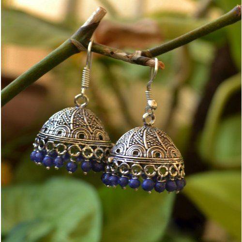 SILVER JHUMKA Earrings Blue beaded Jhumkas by taneesijewelry, $29.99