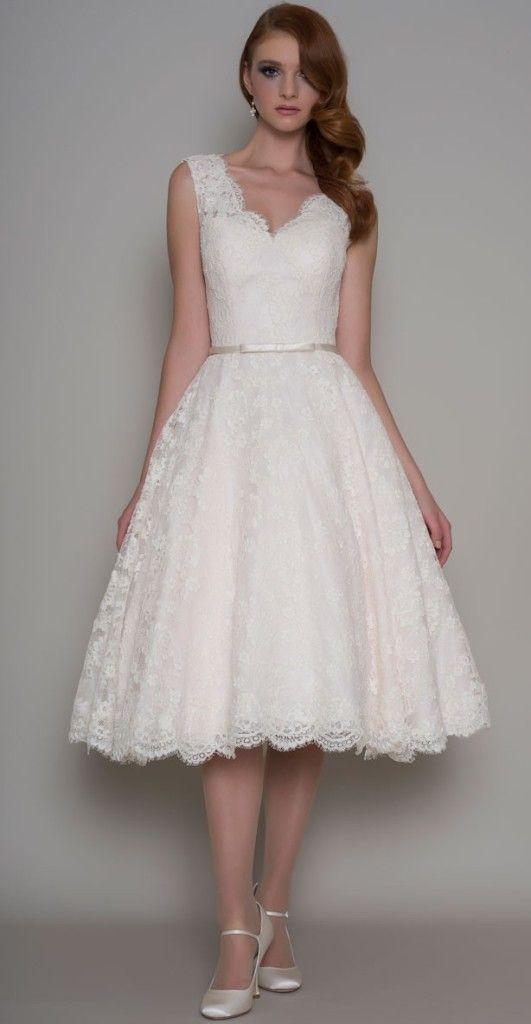 Vintage inspired tea length 50s Wedding Dresses