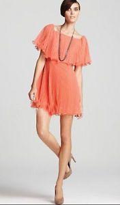 BCBG-Shalom-Pleated-Cocktail-Dress-Coral-NWT-Retail-300-00