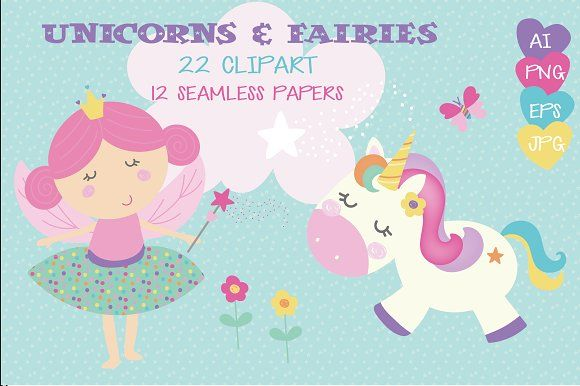 Unicorns & fairies by Poppymoondesign on @creativemarket