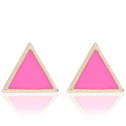 Pink triangle stud earrings £2.00