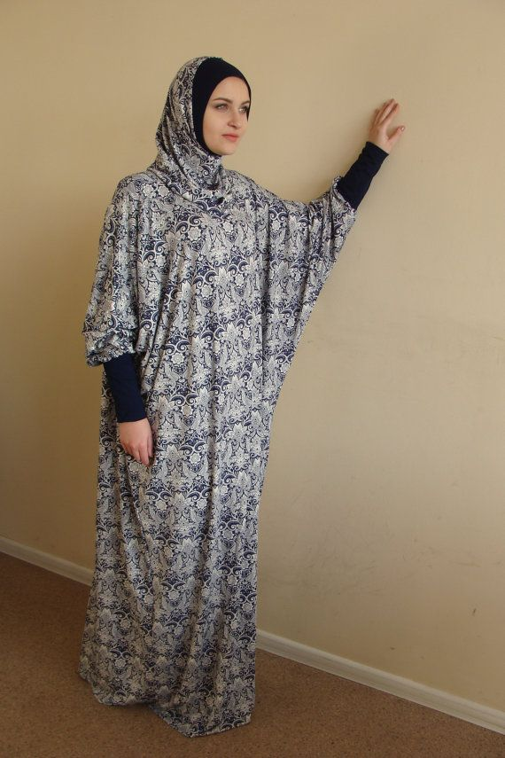 Blue and white Maxi Dress Plus Size Prayer dress Farasha