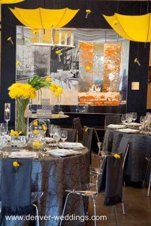 yellow silver or grey wedding idea add flowers to the umbrellas for a better design