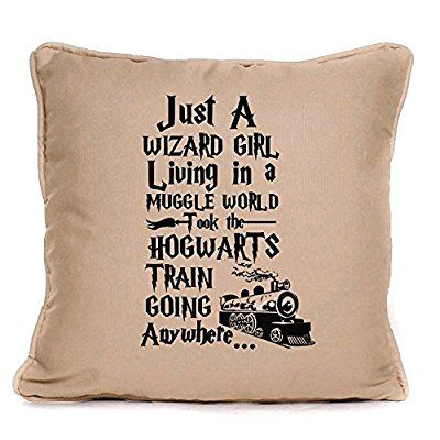Harry Potter inspired just a wizard girl living in a muggle world great cushion gift idea