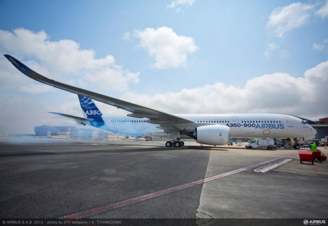 A350 XWB (MSN1) First Engine Run, Toulouse, France. Rolls-Royce's Trent XWB engines have run for the first time on the A350 XWB (MSN1) following the start-up of the Auxiliary Power Unit (APU), as part of the preparations for the aircraft's maiden flight. Photo by Airbus.