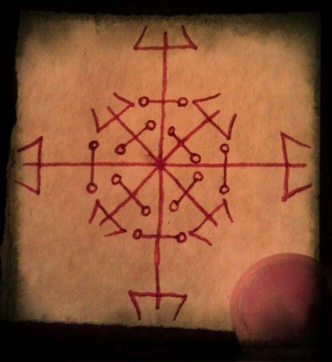 """A """" roda de Hécate """" amuleto protetor , desenhada no papel de pergaminho com tinta sangue de dragão . Veja Jason Miller """" proteção & Reversão Magic"""" para mais informações."""