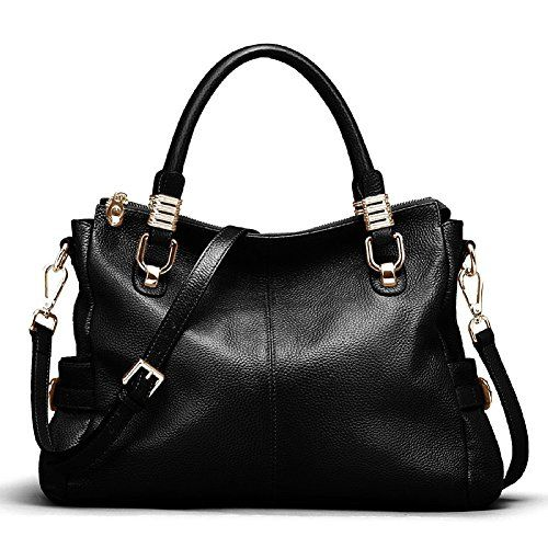 Kattee Womens Urban Style Genuine Leather Tote Satchel Shoulder Handbag Black * Want additional info? Click on the image.