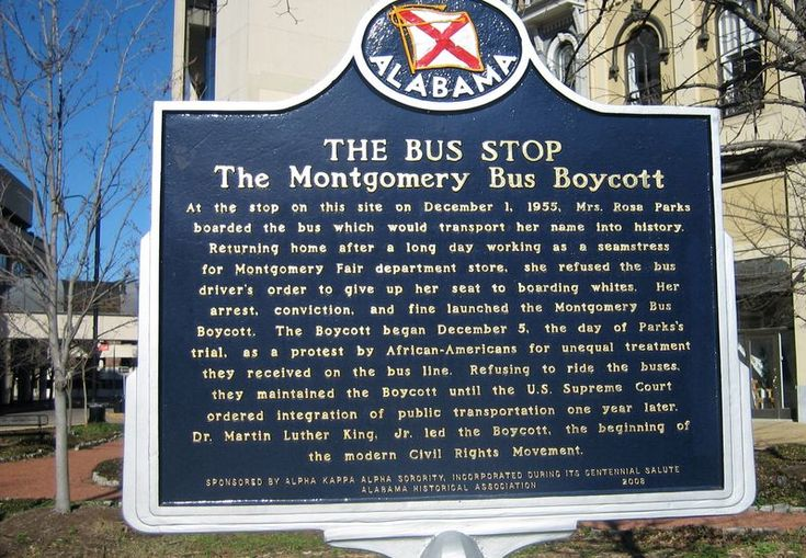 The Montgomery Bus Boycott marker near the Rosa Parks Museum....R