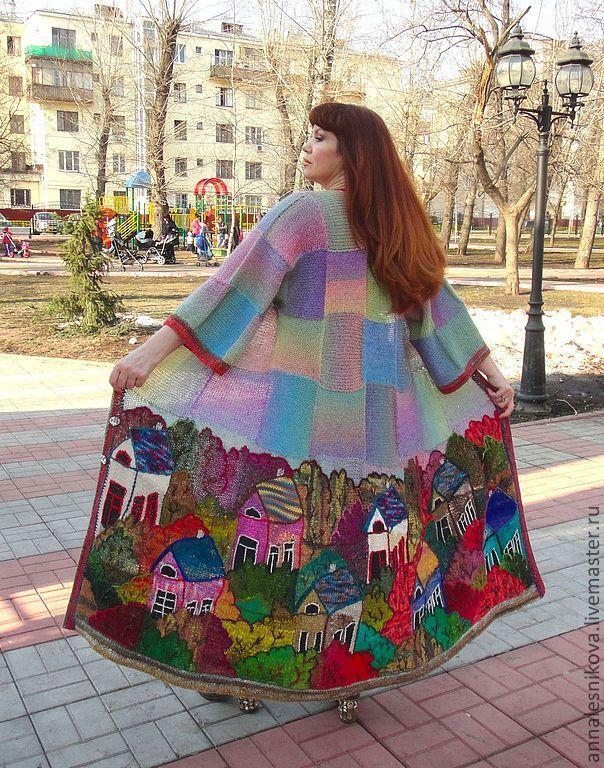 """Купить Пальто """"Домики 3D""""- трапеция - шанель - вязаное пальто, вязаный кардиган, платье-пальто"""