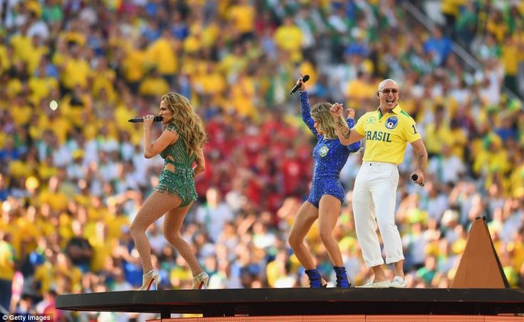 Popstar Jennifer Lopez and rapper Pitbull performed to thousands of people at the Arena de Sao Paulo in Brazil this evening as the opening ceremony of the World Cup got underway