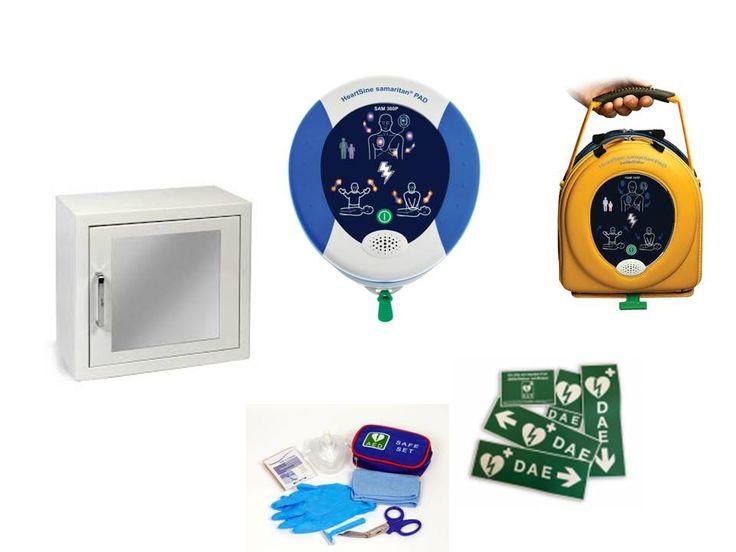 Pack défibrillateur Heartsine Samaritan PAD 360P livré avec armoire intérieure avec alarme, signalétique et kit premier secours