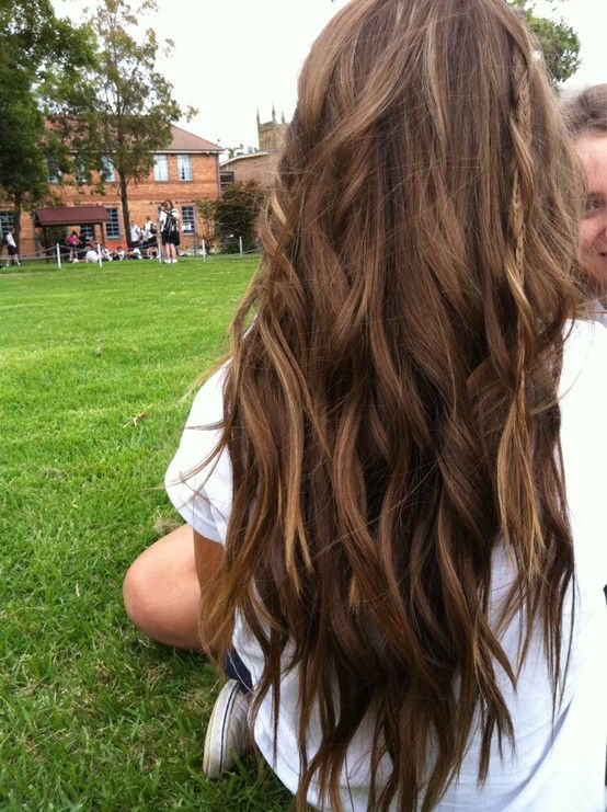 Medium ash brown with chestnut blonde highlights. <3 I want my hair to be this longgg