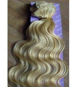 Světle blond šampaň clip in Dvojité vlnité vlasy
