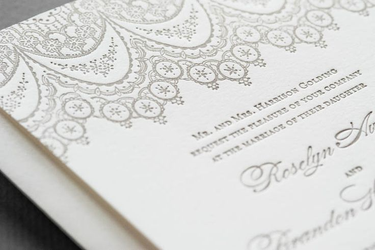 Aerialist Press // Chantilly Letterpress Wedding Invitation // Lace Invitation, Vintage, Classic, Feminine - Invitation, Response Card, Invitation Outer Envelope, Reply Card Envelope w Return Address - Total $806 for 125 sets