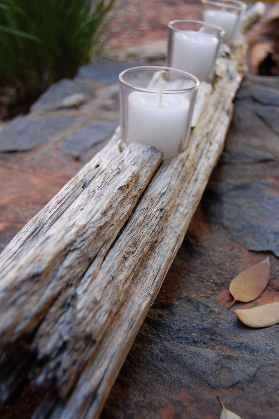 """Driftwood candle holder from all those surf fishing days when Bill and I come home without the elusive """"Big One!"""""""