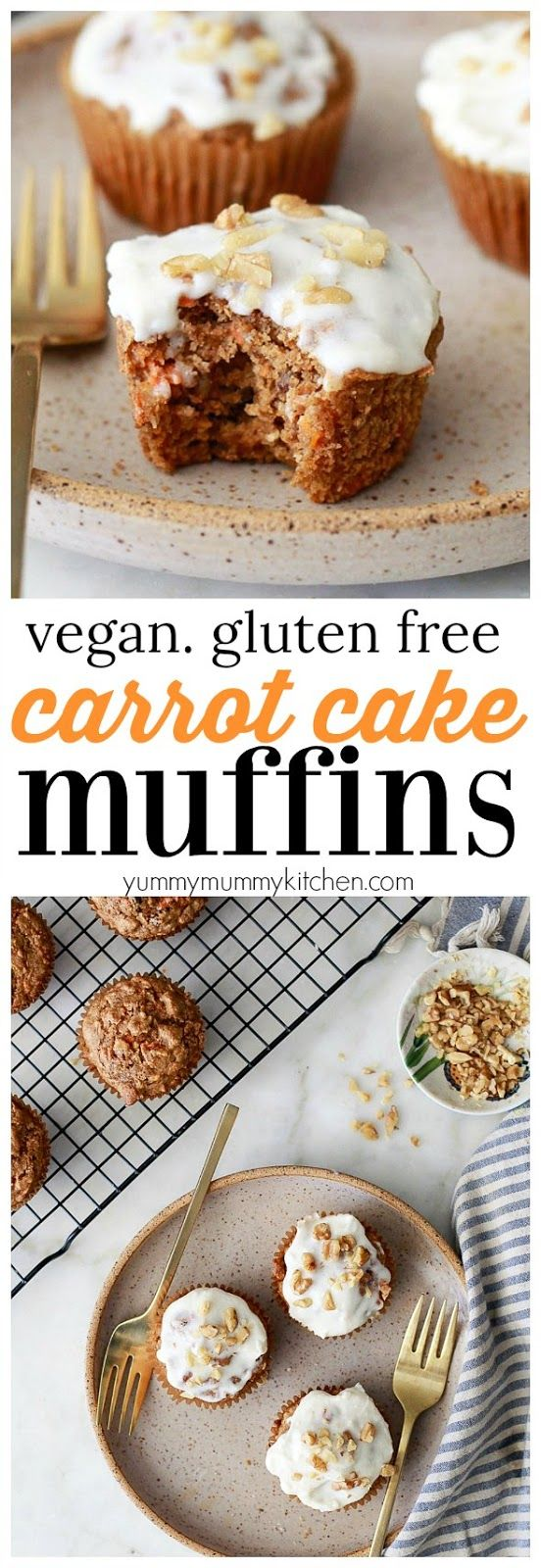 The most delicious gluten free carrot muffins. These easy muffins are made in the blender. They're made with healthy ingredients like oat flour and maple syrup. These carrot muffins are dairy-free, oil-free, gluten-free, and vegan!