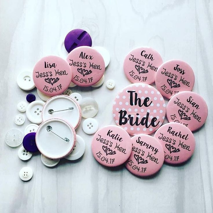 A personal favourite from my Etsy shop https://www.etsy.com/uk/listing/507455240/hen-party-badges-personalised-pin-badge