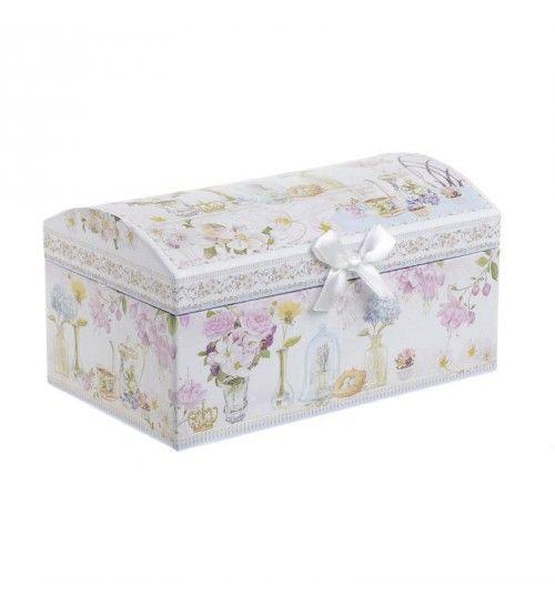 JEWELLERY BOX W_MIRROR PINK WHITE FLOWERS 20X12_5X10_5
