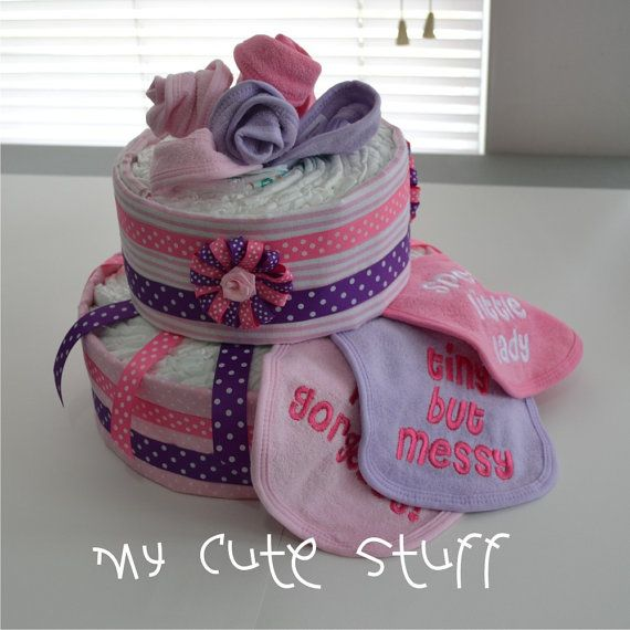 Cute Diaper Cake  Baby Shower  Nursery Gift by mycutestuff on Etsy, $44.00
