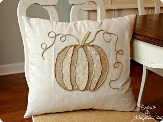 This no-sew burlap pumpkin pillow inspired by Pottery Barn is the perfect addition to your home for fall!