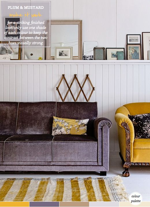 I love the plum and mustard combination, the textures, and art on the ledge... Photos Krista Keltanen  Published in Kotivinkki magazine