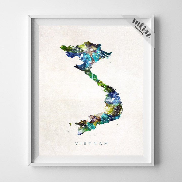 Vietnam Watercolor Map Print. Prices from $9.95. Available at www.InkistPrints.com #Vietnam #Poster