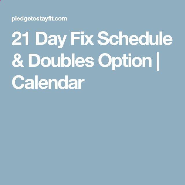 21 Day Fix Schedule Doubles Option | Calendar